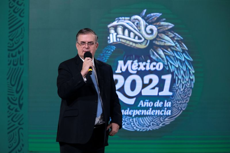 Mexican Foreign Minister Marcelo Ebrard speaks during a news conference in Mexico City