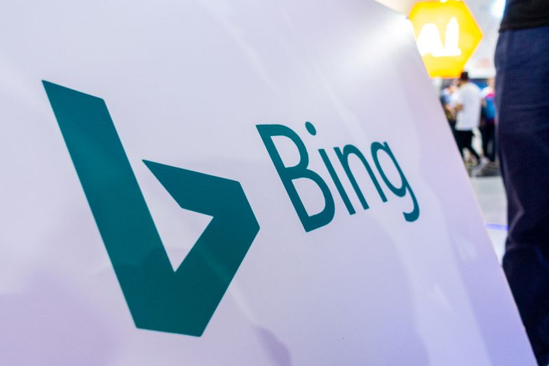 Sign of Microsoft Corp's Bing search engine is seen at the World Artificial Intelligence Conference (WAIC) in Shanghai