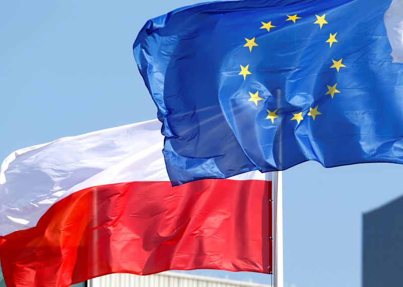FILE PHOTO: EU and Poland's flags flutter at the Orlen refinery in Mazeikiai