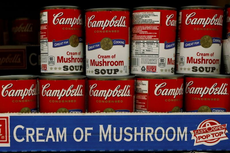 FILE PHOTO: Cans of Campbell's Soup are displayed in a supermarket in New York