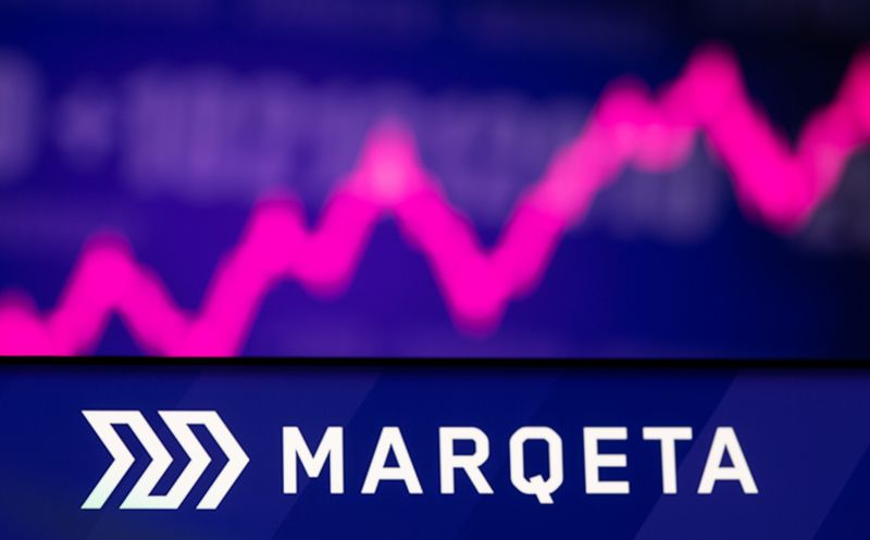 Illustration  picture of Marqeta logo in front of displayed stock graph