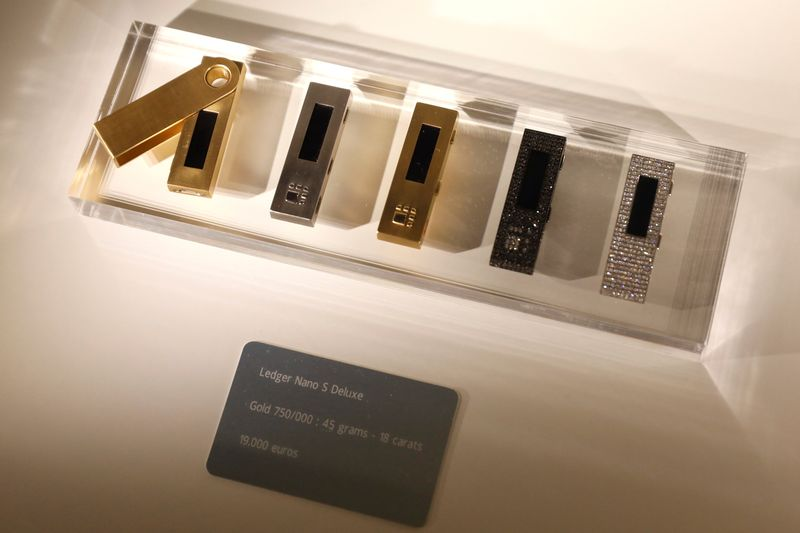 FILE PHOTO: Ledger Nano S cryptocurrency hardware wallets are seen for sale on the floor of the Consensus 2018 blockchain technology conference in New York City