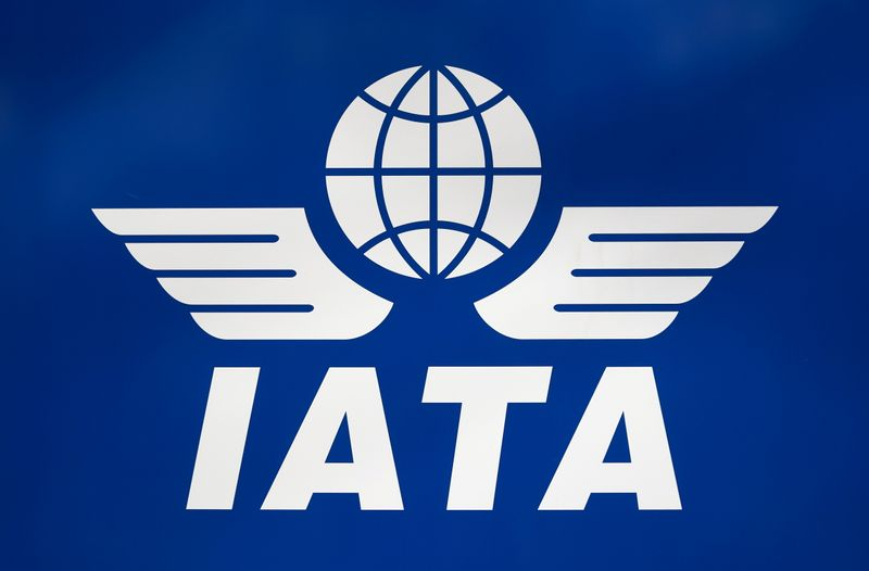 FILE PHOTO: A logo of IATA is pictured in Geneva