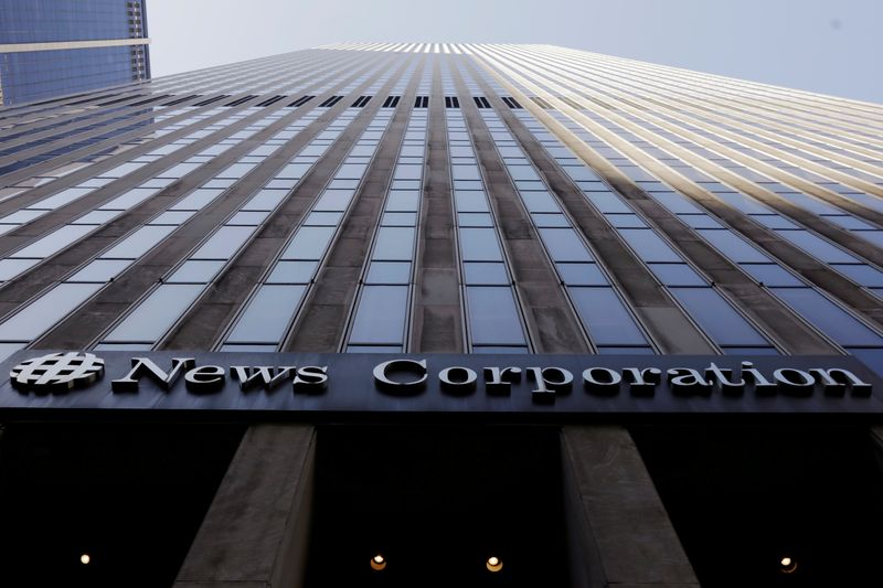 FILE PHOTO: The News Corporation logo is displayed on the side of a building in midtown Manhattan in New York