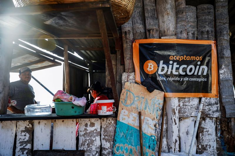 FILE PHOTO: A banner is seen at a beach cafe on Punta Roca Beach in La Libertad