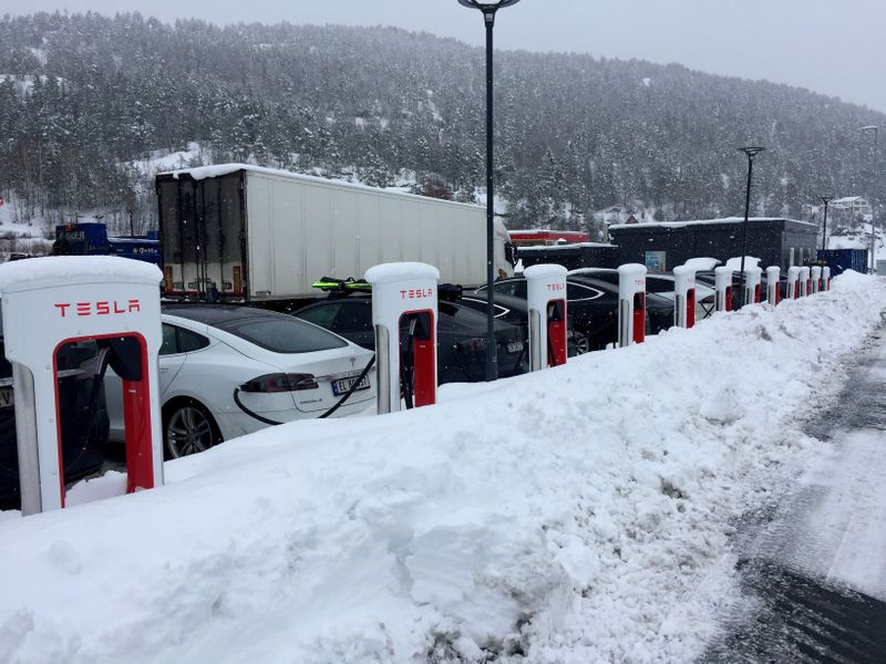 FILE PHOTO: Electric cars are seen at Tesla charging station in Gulsvik, Norway