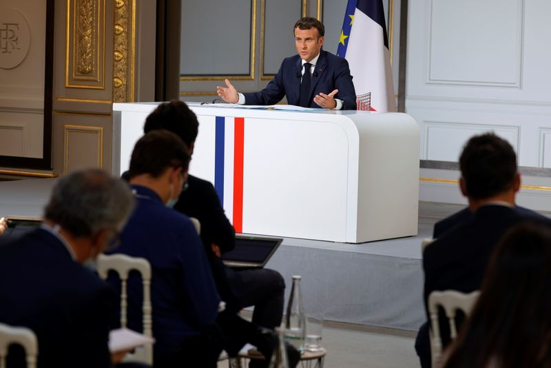 French President Macron holds a presser ahead of the G7 Summit in Paris