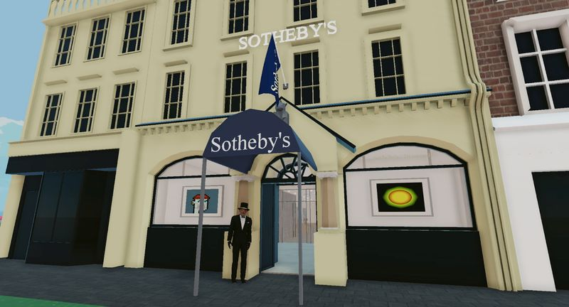 Sotheby's Virtual Gallery in the Voltaire Art District of Decentraland is seen in this handout picture