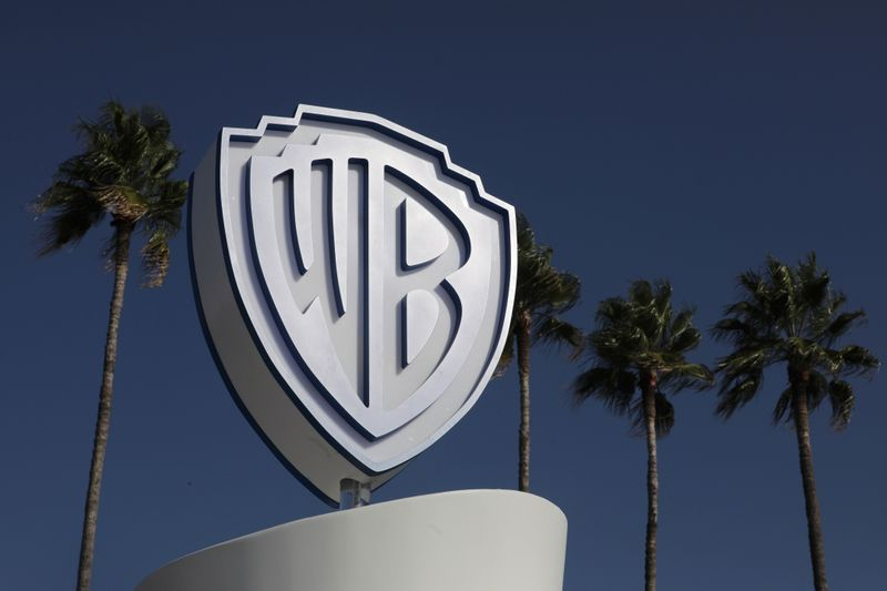 The Warner Bros logo is seen during the annual MIPCOM television programme market in Cannes