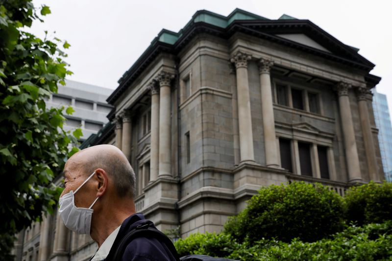FILE PHOTO: A man wearing a protective mask stands in front of the headquarters of Bank of Japan amid the coronavirus disease (COVID-19) outbreak in Tokyo