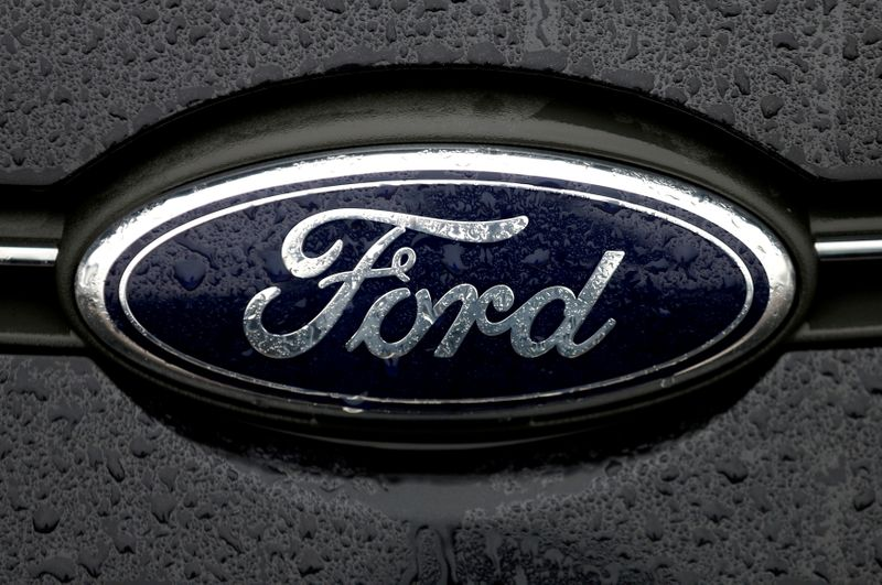 FILE PHOTO: The Ford logo is pictured at the Ford Motor Co plant in Genk