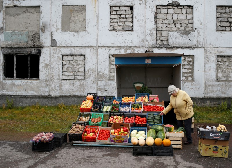 A woman sells fruit and vegetables in a street in the far northern city of Vorkuta