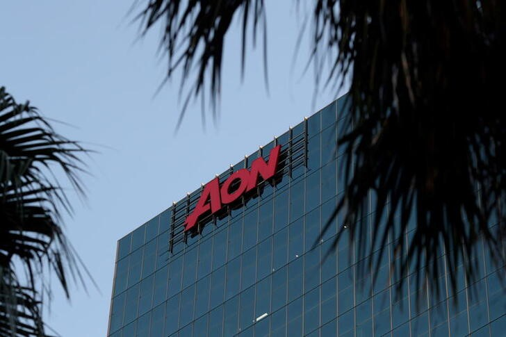 FILE PHOTO: An office building with the Aon logo is seen in Sydney