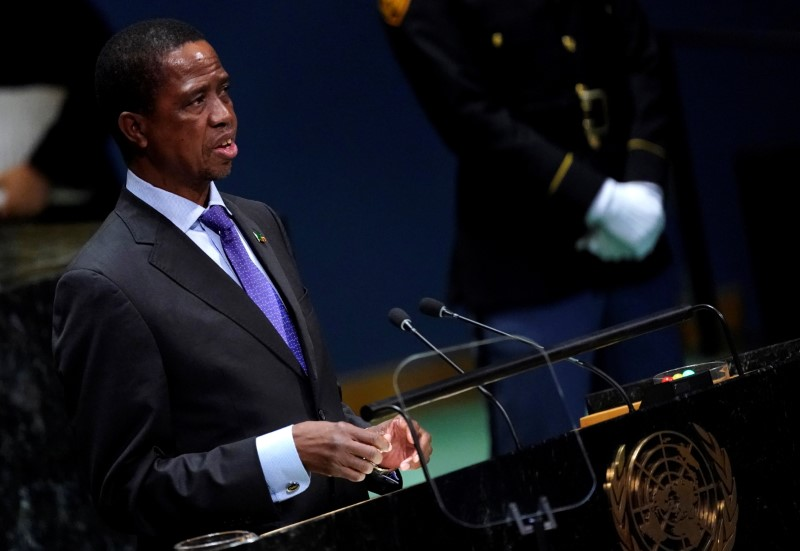 FILE PHOTO: Zambia's President Edgar Chagwa Lungu addresses the 74th session of the United Nations General Assembly at U.N. headquarters in New York City, New York, U.S.