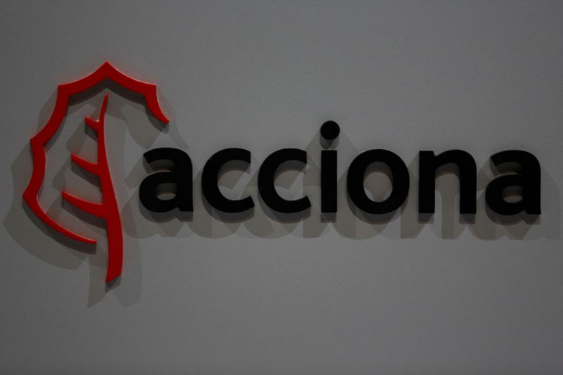 The logo of Spanish energy, construction and services conglomerate Acciona, is seen during company's annual shareholders meeting in Alcobendas