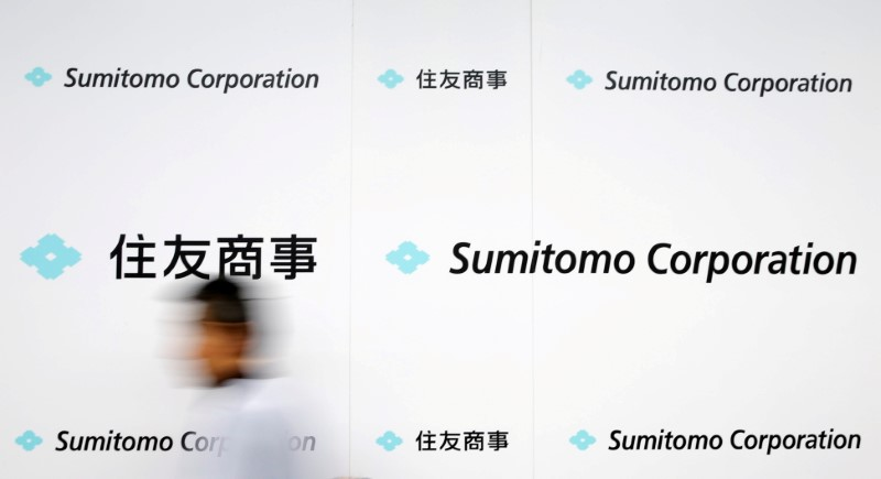 FILE PHOTO: Logos of Sumitomo Corp are seen after the company's initiation ceremony at its headquarters in Tokyo