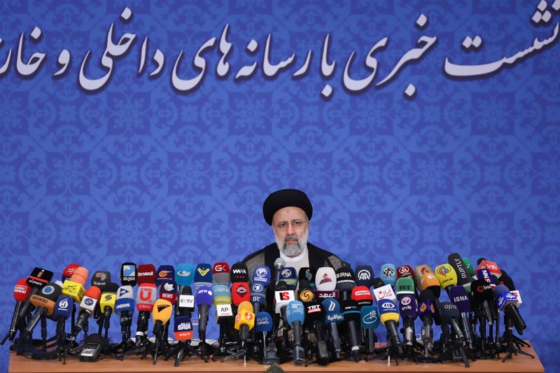 Iran's President-elect Ebrahim Raisi attends a news conference in Tehran
