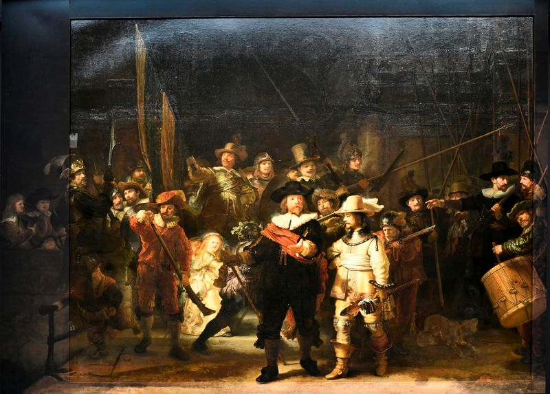 Rembrandt's famed Night Watch is seen back on display for the first time in 300 years, in Rijksmuseum in Amsterdam