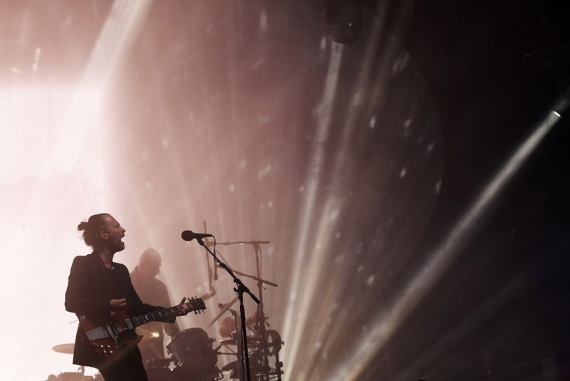 FILE PHOTO: Radiohead performs on the Pyramid Stage at Worthy Farm in Somerset during the Glastonbury Festival