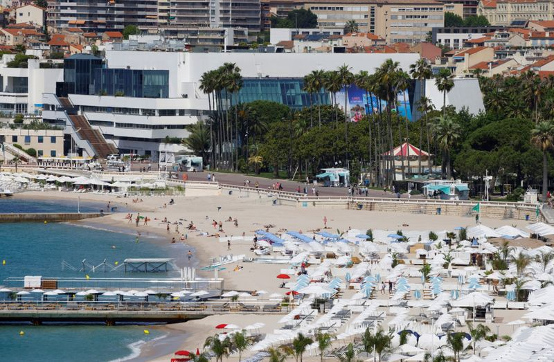 FILE PHOTO: Cannes prepares for the 74th Cannes International Film Festival in Cannes