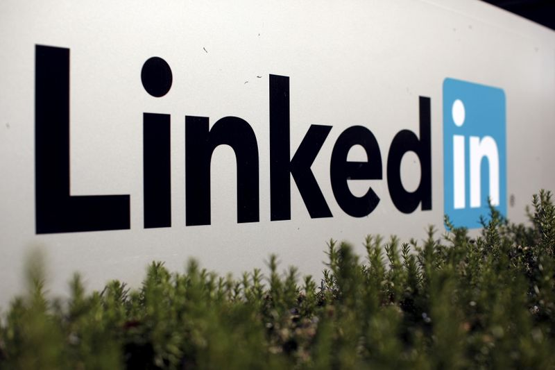 FILE PHOTO: The logo for LinkedIn Corporation is shown in Mountain View, California