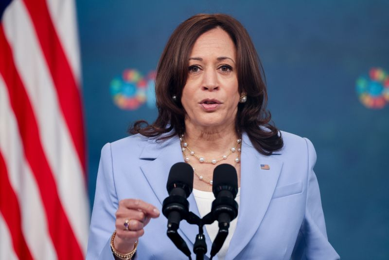 U.S. Vice President Harris gives remarks at the White House during the Generation Equality Forum