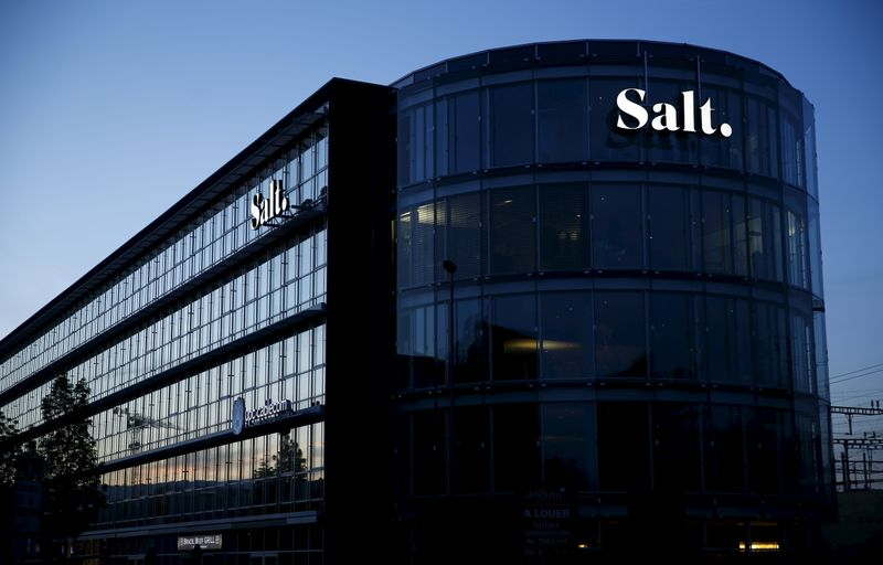 FILE PHOTO: The new logo of telecommunications operator Salt. is pictured on the company headquarters in Renens