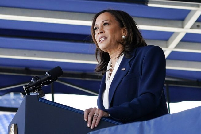 Vice President Kamala Harris photographed at the U.S. Naval Academy in Annapolis, Md. (AP Photo/Susan Walsh)
