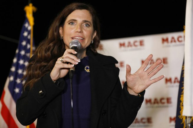 FILE - In this Nov. 3, 2020, file photo, Republican Nancy Mace talks to supporters during her election night party in Mount Pleasant, S.C. U.S. Rep. Nancy Mace on Tuesday, June 1, 2021, posted a video of obscenities that she said had been spray-painted on her Charleston-area home over the Memorial Day weekend. (AP Photo/Mic Smith, File)