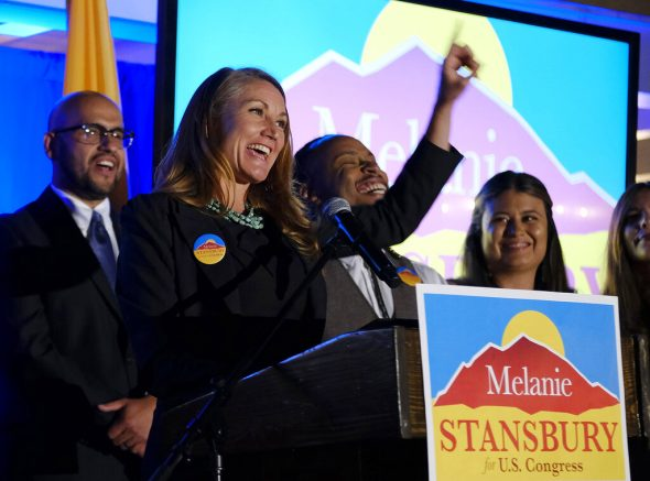 Melanie Stansbury addresses supporters at the Hotel Albuquerque, Tuesday, June 1, 2021, in Albuquerque, N.M., after winning the election in New Mexico's 1st Congressional District race to fill former U.S. Rep. Deb Haaland's seat. (Adolphe Pierre-Louis/The Albuquerque Journal via AP)