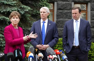 From left to right, U.S. Senators Jeanne Shaheen, D-N.H., Rob Portman, R-Ohio, and Chris Murphy D-Conn., give a briefing at Ukrainian Presidential office after their meeting with Ukrainian President Volodymyr Zelenskiy in Kyiv, Ukraine, Wednesday, June 2, 2021. (AP Photo/Efrem Lukatsky)