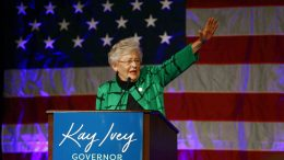 FILE - In this Nov. 6, 2018 file photo, Alabama Gov. Kay Ivey waves as she speaks to supporters at a watch party after she won the gubernatorial election, in Montgomery, Ala. Ivey announced Wednesday, June 2, 2021, that she is running for reelection. Ivey, 76, made the announcement in a video message released by her campaign. (AP Photo/Butch Dill, File)