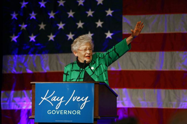 Ala. Gov. Kay Ivey waves as she speaks to supporters at a watch party after she won the gubernatorial election, in Montgomery, Ala. (AP Photo/Butch Dill, File)