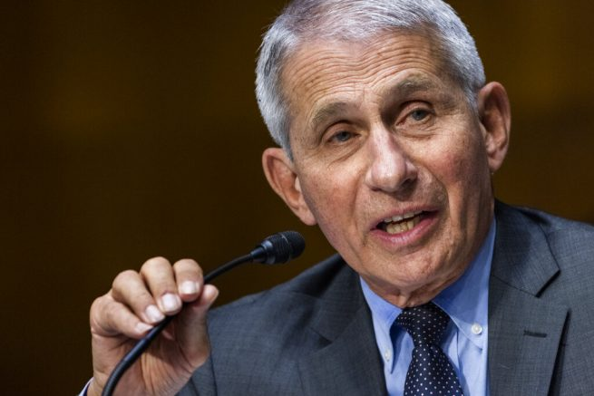 Dr. Anthony Fauci, director of the National Institute of Allergy and Infectious Diseases, speaks during hearing on Capitol Hill in Washington. (Jim Lo Scalzo/Pool Photo via AP, File)