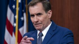 Pentagon spokesman John Kirby points to a question as he speaks during a media briefing at the Pentagon, Friday, June 4, 2021, in Washington. (AP Photo/Alex Brandon)