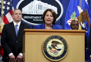 Deputy Attorney General Lisa Monaco announces the recovery of millions of dollars worth of cryptocurrency from the Colonial Pipeline Co. ransomware attacks as she speaks during a news conference with FBI Deputy Director Paul Abbate and acting U.S. Attorney for the