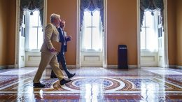 Senate Minority Leader Mitch McConnell, R-Ky., accompanied by Robert Duncan, the secretary for the minority, walks to the chamber as the Senate resumes work following a ten-day recess, at the Capitol in Washington, Monday, June 7, 2021. President Joe Biden has dismissed a fresh Republican infrastructure proposal but indicates the two sides will be talking again. (AP Photo/J. Scott Applewhite)