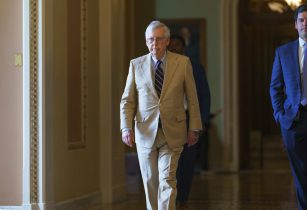 Senate Minority Leader Mitch McConnell, R-Ky., leaves the chamber as the Senate resumes work following a ten-day recess, at the Capitol in Washington, Monday, June 7, 2021. President Joe Biden has dismissed a fresh Republican infrastructure proposal but indicates the two sides will be talking again.(AP Photo/J. Scott Applewhite)