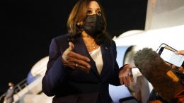 Vice President Kamala Harris talks to the press gathered under the wing of Air Force Two as she prepares to depart for Mexico, from Guatemala's Air Force Central Command, Monday, June 7, 2021. (AP Photo/Jacquelyn Martin)
