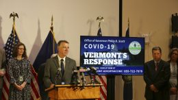 Vermont Republican Gov. Phil Scott announces on Monday June 14, 2021 in Montpelier, Vt., that the state had reached its goal of vaccinating 80% of the eligible population. As a result Scott lifted all remaining COVID-19 restrictions that were imposed to deal with the pandemic. (AP Photo/Wilson Ring)