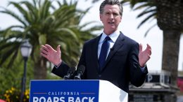 California Governor Gavin Newsom talks during a news conference at Universal Studios in Universal City, Calif., on Tuesday, June 15, 2021. Starting Tuesday, there were no more state rules on social distancing, and no more limits on capacity at restaurants, bars, supermarkets, gyms, stadiums or anywhere else. (AP Photo/Ringo H.W. Chiu)