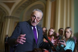 Senate Majority Leader Chuck Schumer, D-N.Y., and the Democratic leadership speak to reporters about progress on an infrastructure bill and voting rights legislation, at the Capitol in Washington, Tuesday, June 15, 2021. (AP Photo/J. Scott Applewhite)