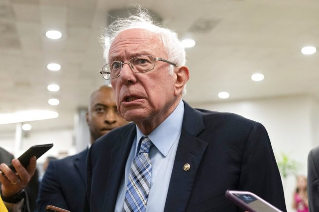 Sen. Bernie Sanders, (I-Vt.) speaks with reporters on Capitol Hill in Washington. (AP Photo/Jacquelyn Martin)