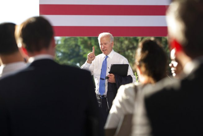 US president Joe Biden points at the end of his closing press conference during the US - Russia summit in Geneva, Switzerland, Wednesday, June 16, 2021. (Peter Klaunzer/Keystone via AP, Pool)