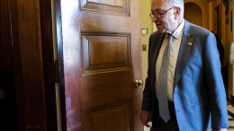Senate Majority Leader Chuck Schumer of N.Y. arrives for a meeting with Senate Democrats on the Budget Committee, Wednesday, June 16, 2021, on Capitol Hill in Washington. (AP Photo/Jacquelyn Martin)