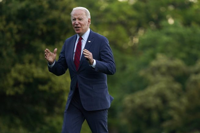 President Joe Biden arrives on the South Lawn of the White House after traveling to North Carolina, Thursday, June 24, 2021, in Washington. (AP Photo/Evan Vucci)