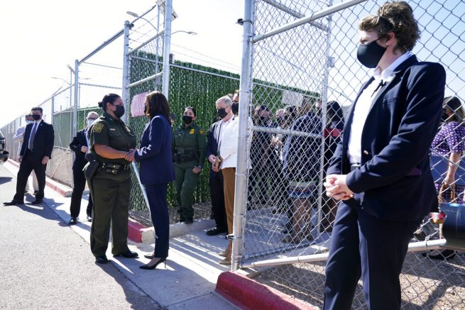 Kamala Harris talks to Gloria Chavez, Chief Patrol Agent of the El Paso Sector, as she tours the U.S. Customs and Border Protection Central Processing Center in El Paso, Texas. (AP Photo/Jacquelyn Martin)