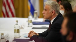 Israeli Foreign Minister Yair Lapid meets with Secretary of State Antony Blinken in Rome, Sunday, June 27, 2021. Blinken is on a week long trip in Europe traveling to Germany, France and Italy. (AP Photo/Andrew Harnik, Pool)