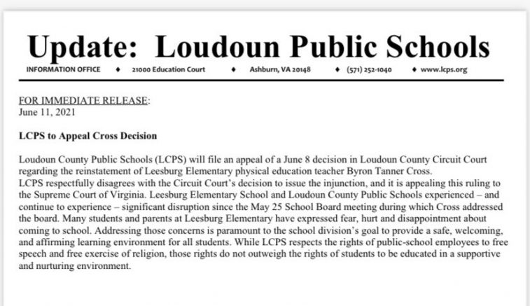 LCPS to appeal Loudoun County gym teacher, Byron Tanner Cross, decision