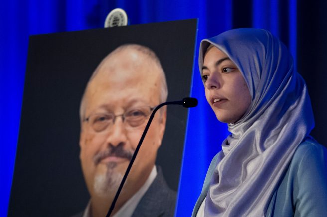 Abrar Omeish in Washington, DC. (Photo credit should read JIM WATSON/AFP via Getty Images)